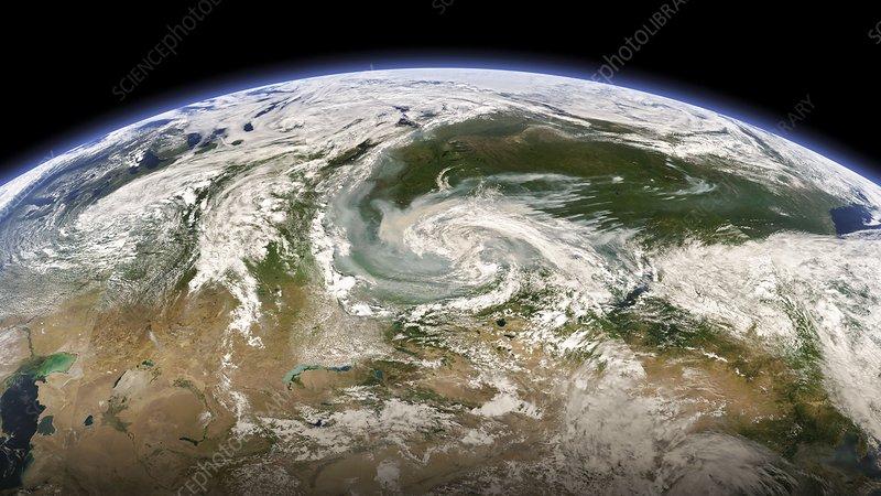 Wildfire smoke over Russia, satellite image