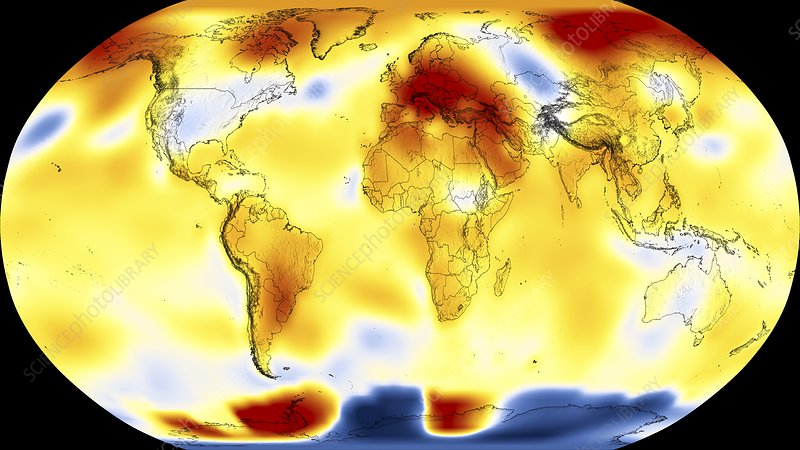 June 2019 monthly global temperature difference map