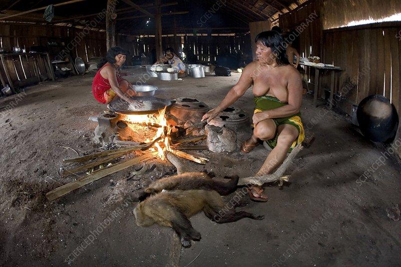 Xingu women cooking, Brazil