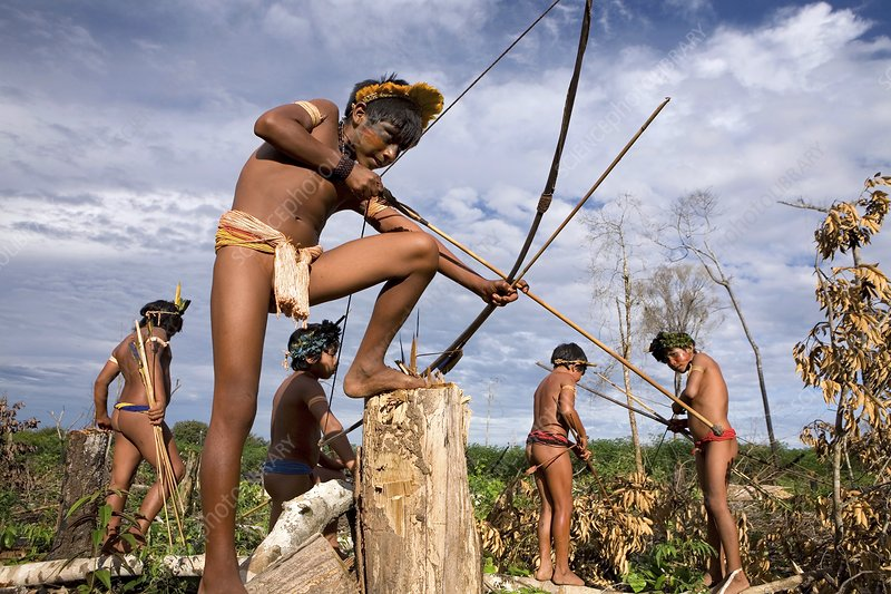 Xingu men hunting, Brazil