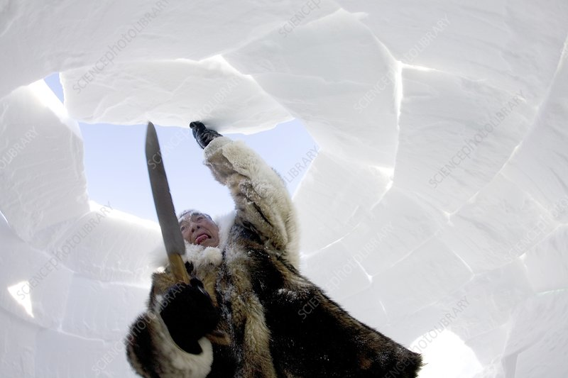 Inuit man building an igloo