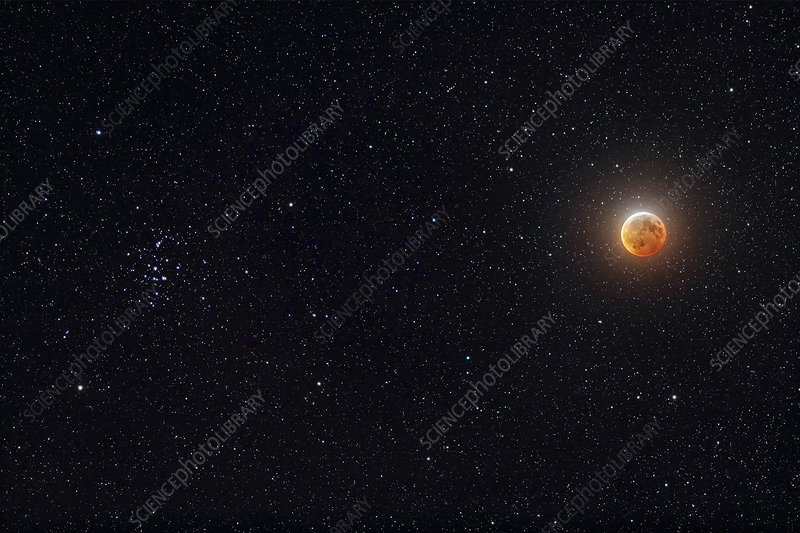 Eclipsed Moon beside the Beehive constellation