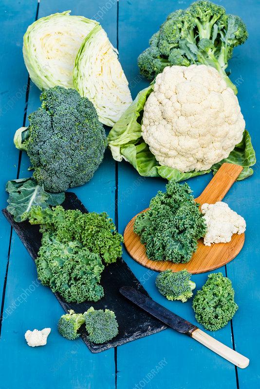 Broccoli, cauliflower, green cabbage and kale