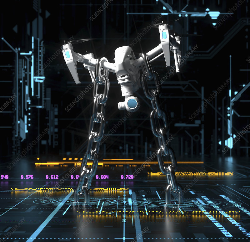 Drone chained to circuit board, illustration
