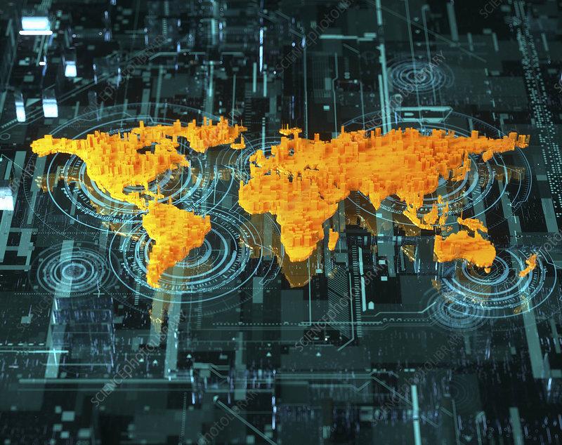 Digital world, conceptual illustration