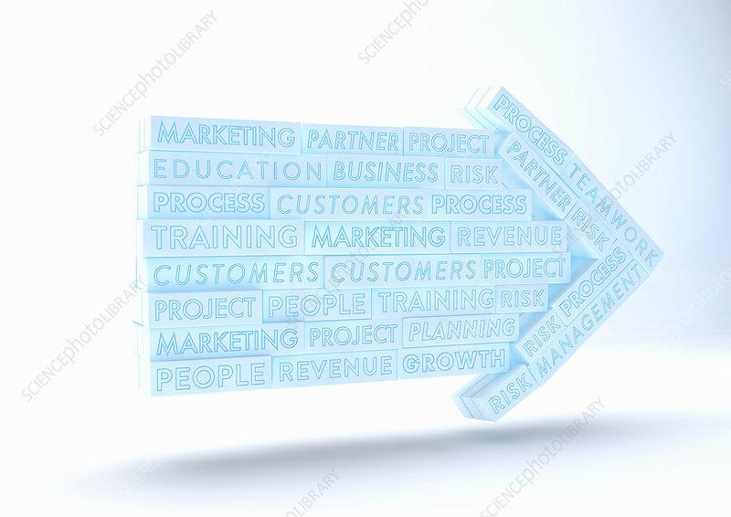 Business buzzwords as arrow, illustration