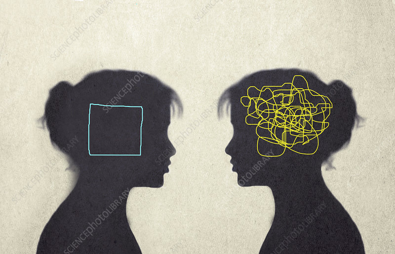 Mental confusion and clarity, conceptual illustration