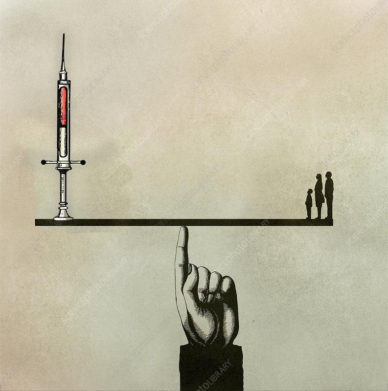 Family on seesaw opposite hypodermic needle, illustration