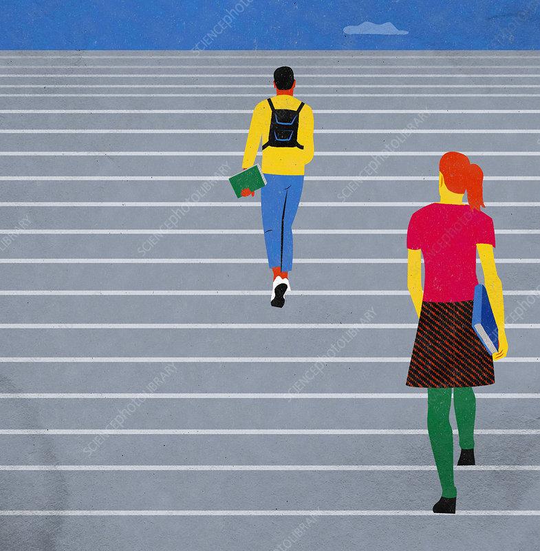 Students ascending steps, illustration