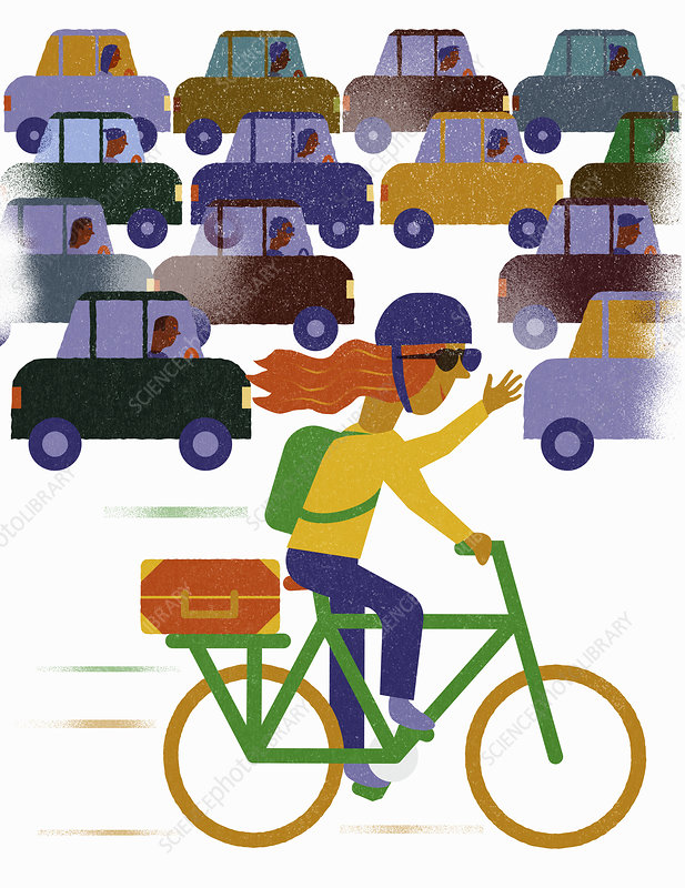 Cyclist bypassing traffic jam, illustration