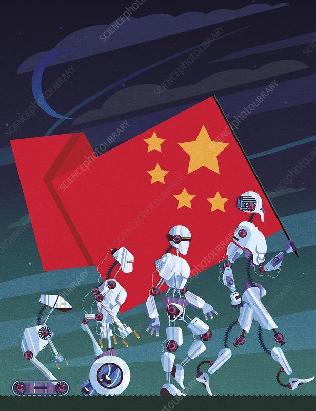 Evolution of robots carrying Chinese flag, illustration