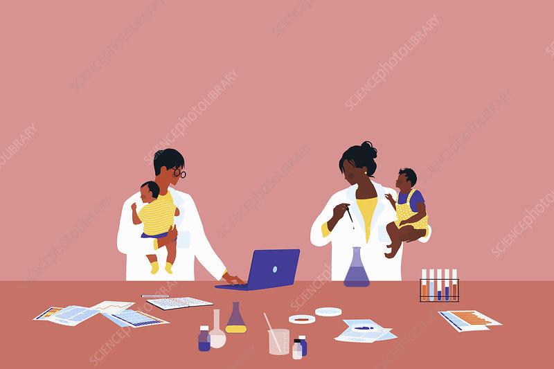 Scientists holding babies, illustration