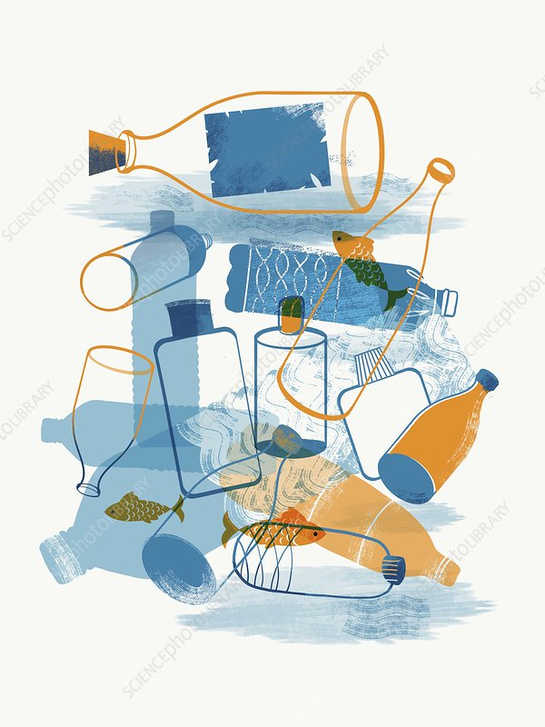 Marine plastic pollution, illustration