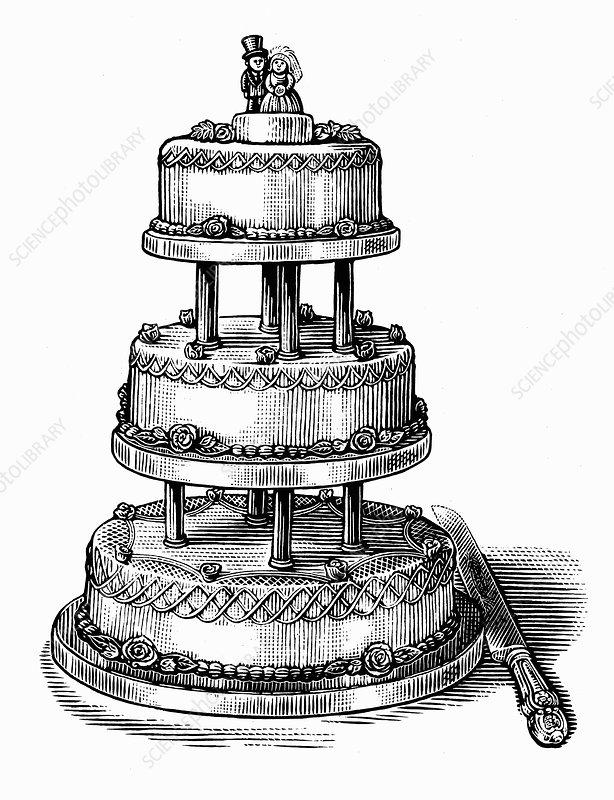 Engraving of tiered wedding cake