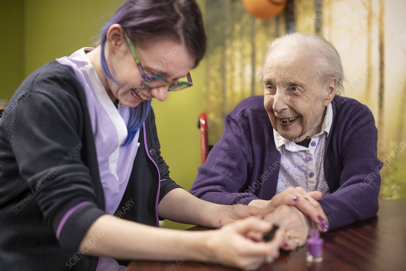 Care home resident and carer