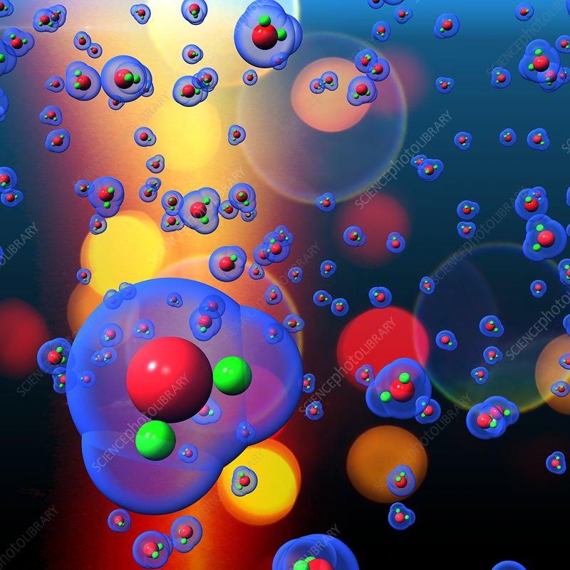 Water molecules, illustration