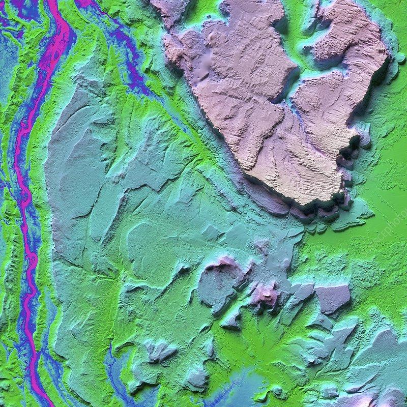 Canaima National Park in Venezuala, LiDAR satellite image