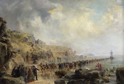 Landing the shore end of the Atlantic telegraph cable, 1866