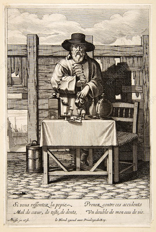Selling medicinal remedies, 17th century