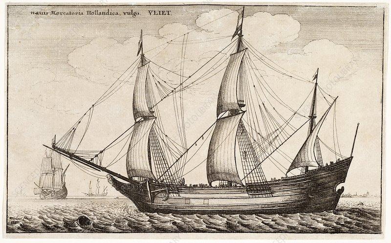 Dutch freighter sailing ship, 17th century