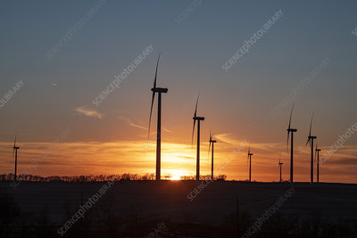 Wind turbines at sunset, Missouri, USA
