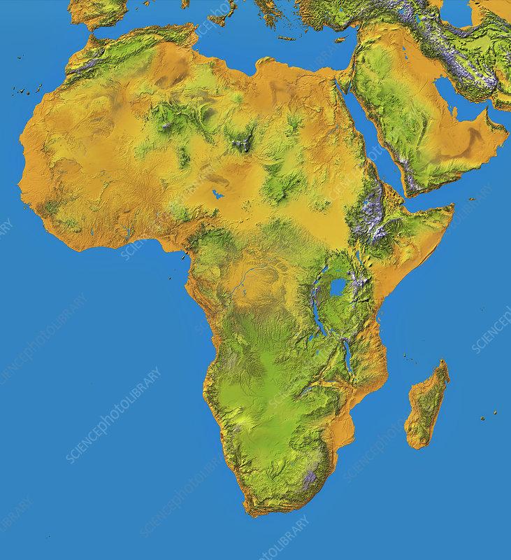 Topographical map of Africa, satellite radar data