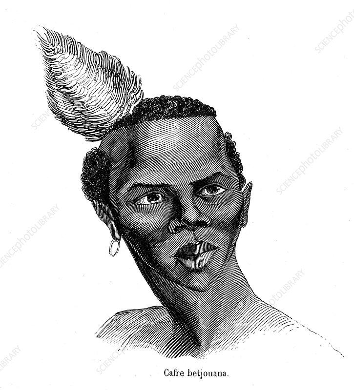 Tswana man, 19th Century illustration