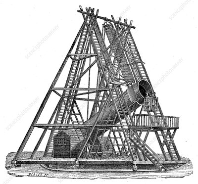 Herschel's 40 foot telescope, 19th Century illustration