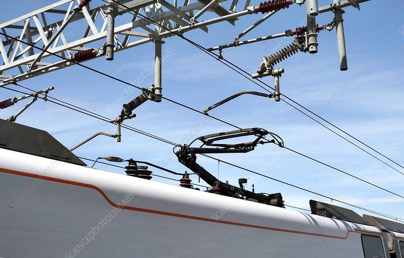 Pantograph on a Pendolino train