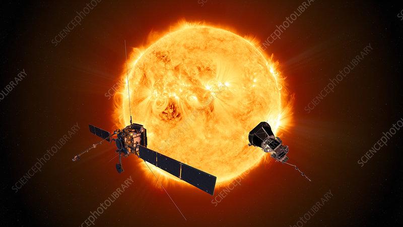 Solar Orbiter and Parker Solar Probe, illustration