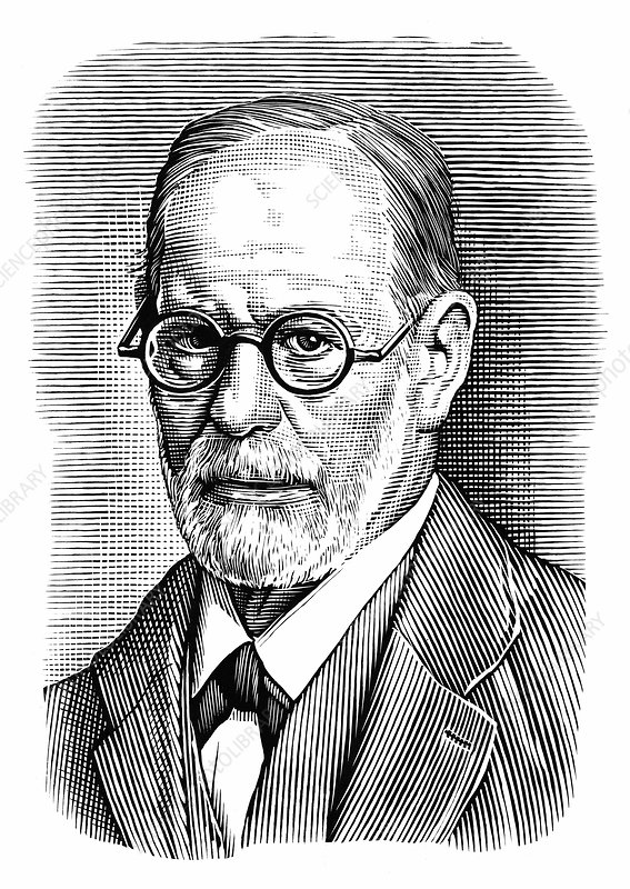 Sigmund Freud, Austrian psychiatrist, illustration