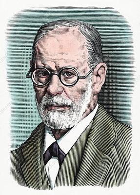 Sigmund Freud, Austrian psychiatrist, illustration