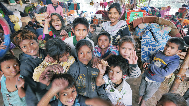 Children in a slum in India