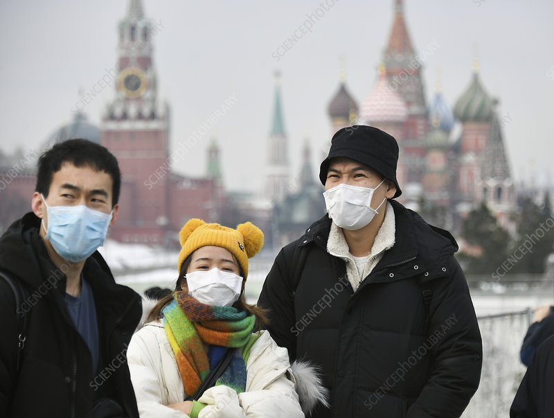 Chinese tourists wearing face masks, Moscow, Russia