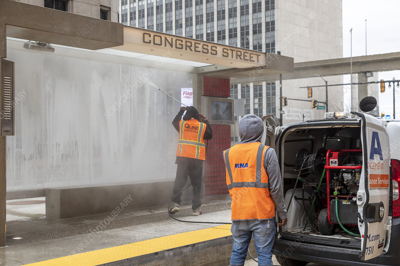 Mass transit cleaning during Covid-19 outbreak