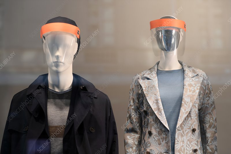 Mannequins wearing visors during coronavirus outbreak