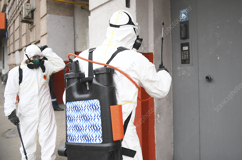 Apartment building cleaning during Covid-19 outbreak