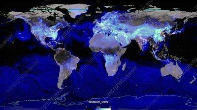 Global surface ozone levels, illustration