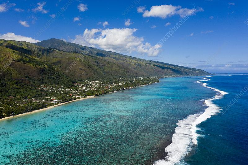 West Coast of Tahiti, French Polynesia, aerial view