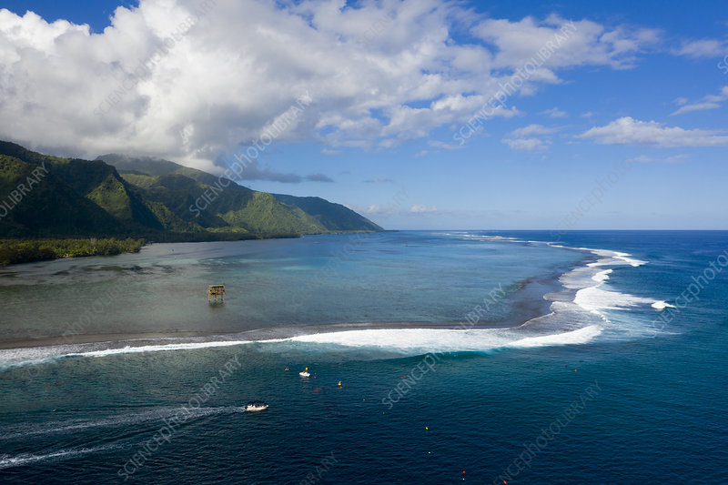Teahupoo, French Polynesia, aerial view
