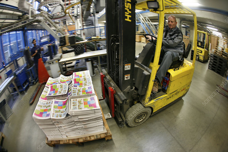 Fork lift truck in print works