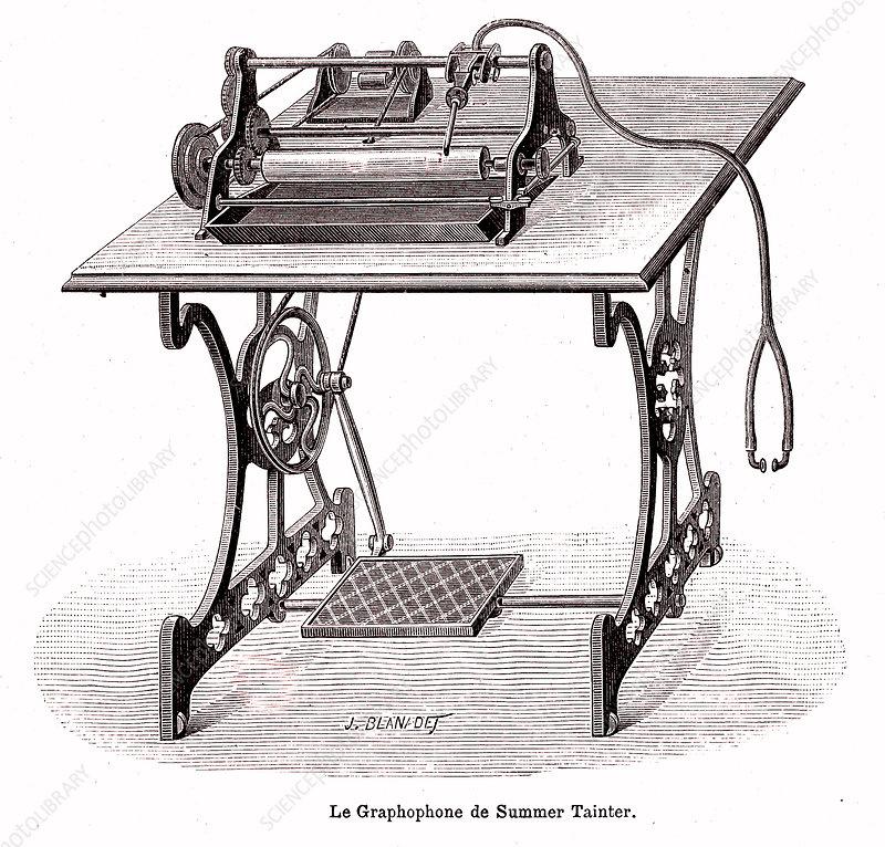 19th Century graphophone, illustration