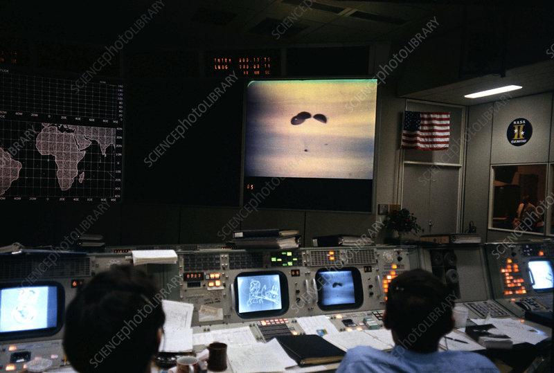 Mission control during Apollo 13 splashdown