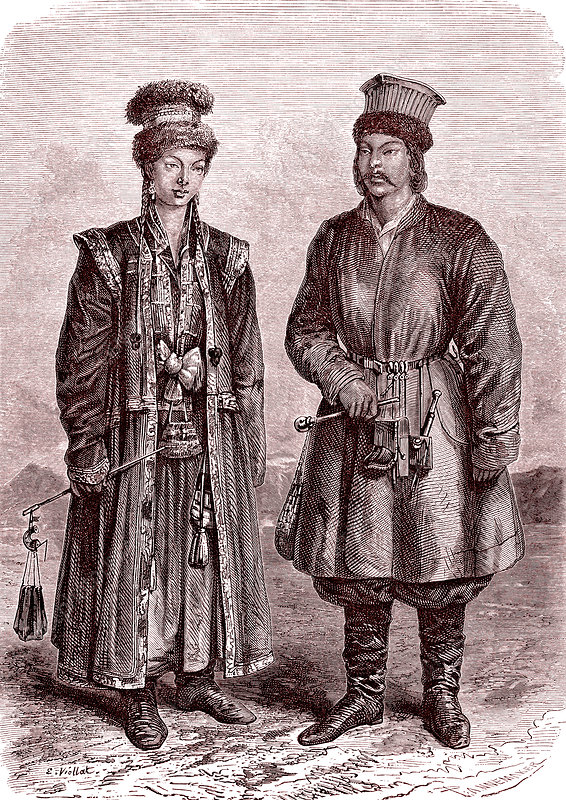 Siberian Kalmuk natives, 19th century illustration