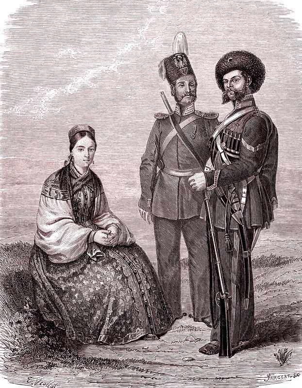 Ural cossacks, 19th century illustration