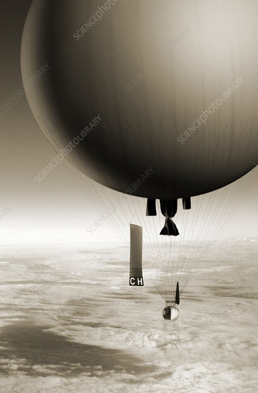 August Piccard balloon ascent, 1931, illustration