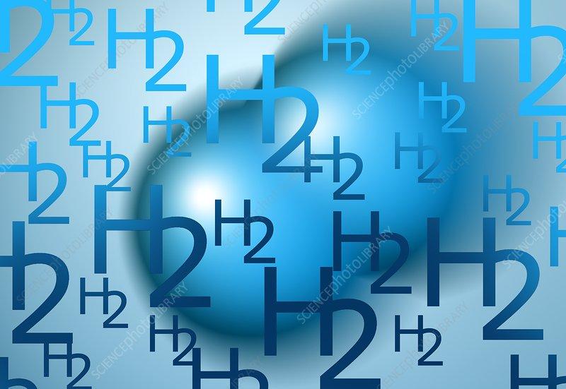 Hydrogen molecules, illustration