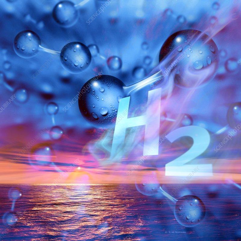 Hydrogen gas, conceptual illustration