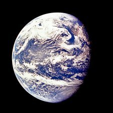 Apollo 11 view of earth, centred on Pacific Ocean
