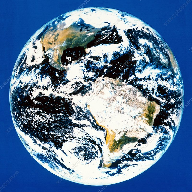 Satellite image of earth showing N & S.America